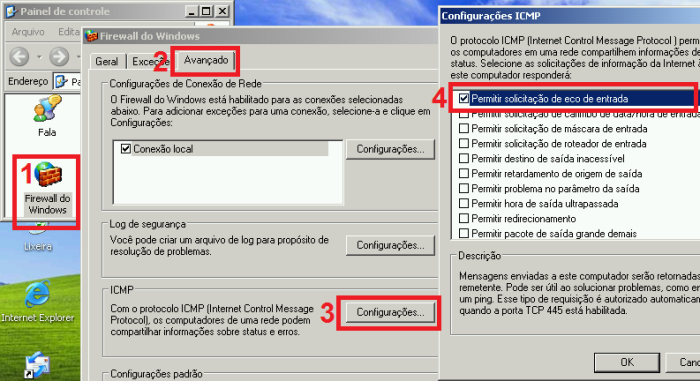 Configurações ICMP no Windows XP