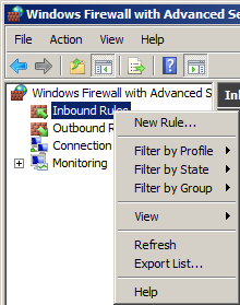 Inbound Rules Windows Firewall Advanced