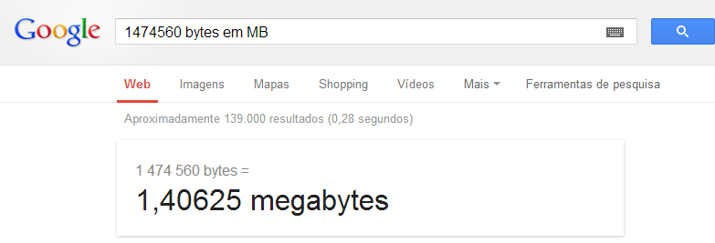 Convertendo bytes para KB, MB ou GB