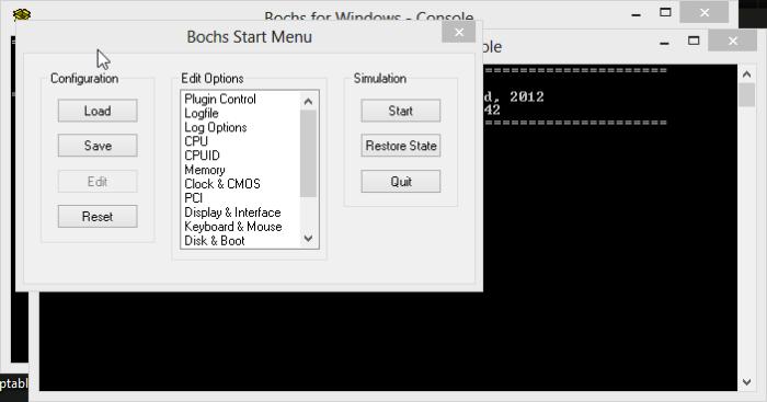 Tela inicial do Bochs
