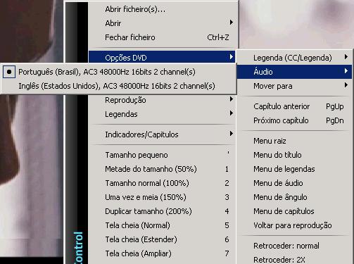 Selecionando Áudio/Legenda de DVD no KMPlayer