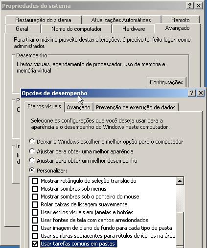 Desabilitando efeitos visuais no Windows XP (voltando ao tema clássico)