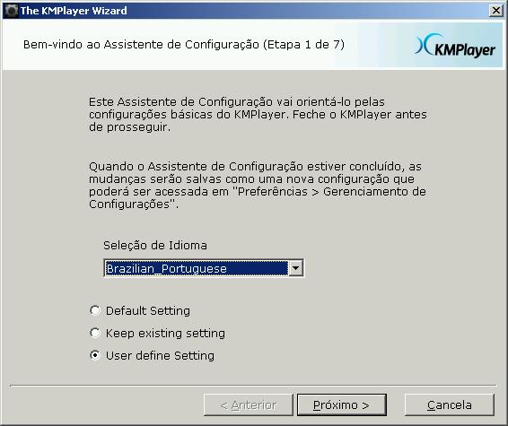 Iniciando o Assistente do KMPlayer - Selecionando o idioma