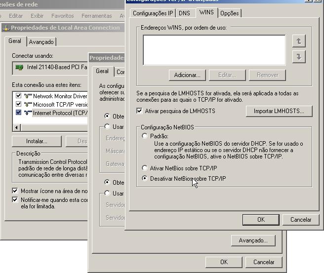 Desabilitando suporte ao NetBios no Windows