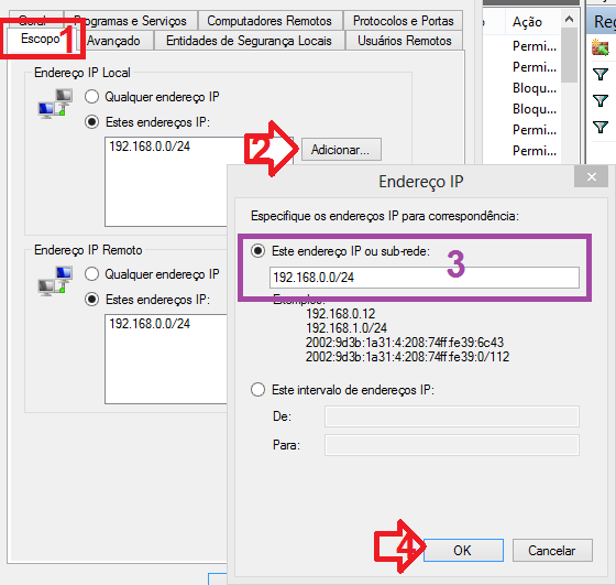Habilitando suporte a apenas uma faixa de IP