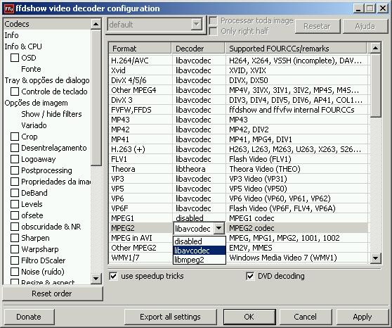 Adicinando suporte a DVD usando o FFDshow